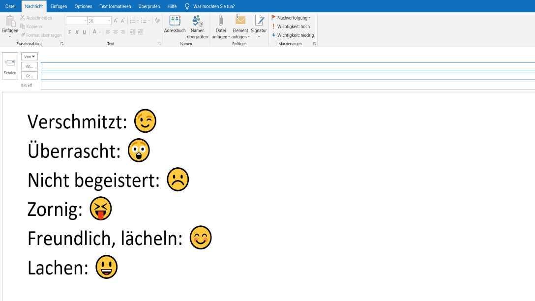 Tastenkürzel für Emojis in Outlook