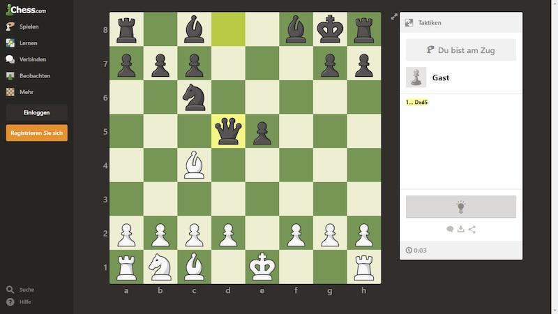 Online Schach lernen Sie mitunter auf chess.com.