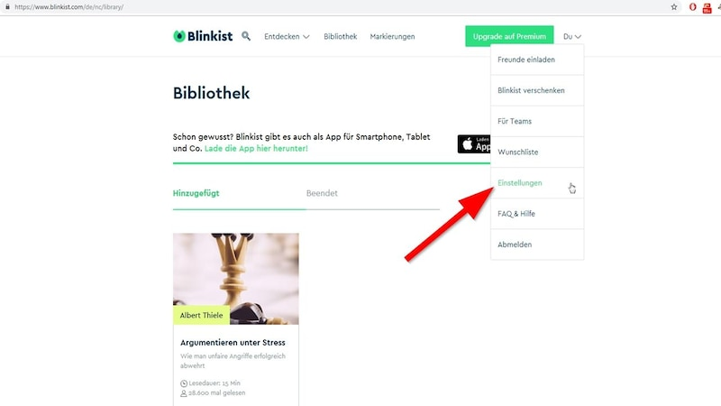 Abo bei Blinkist kündigen - so geht's im Browser.