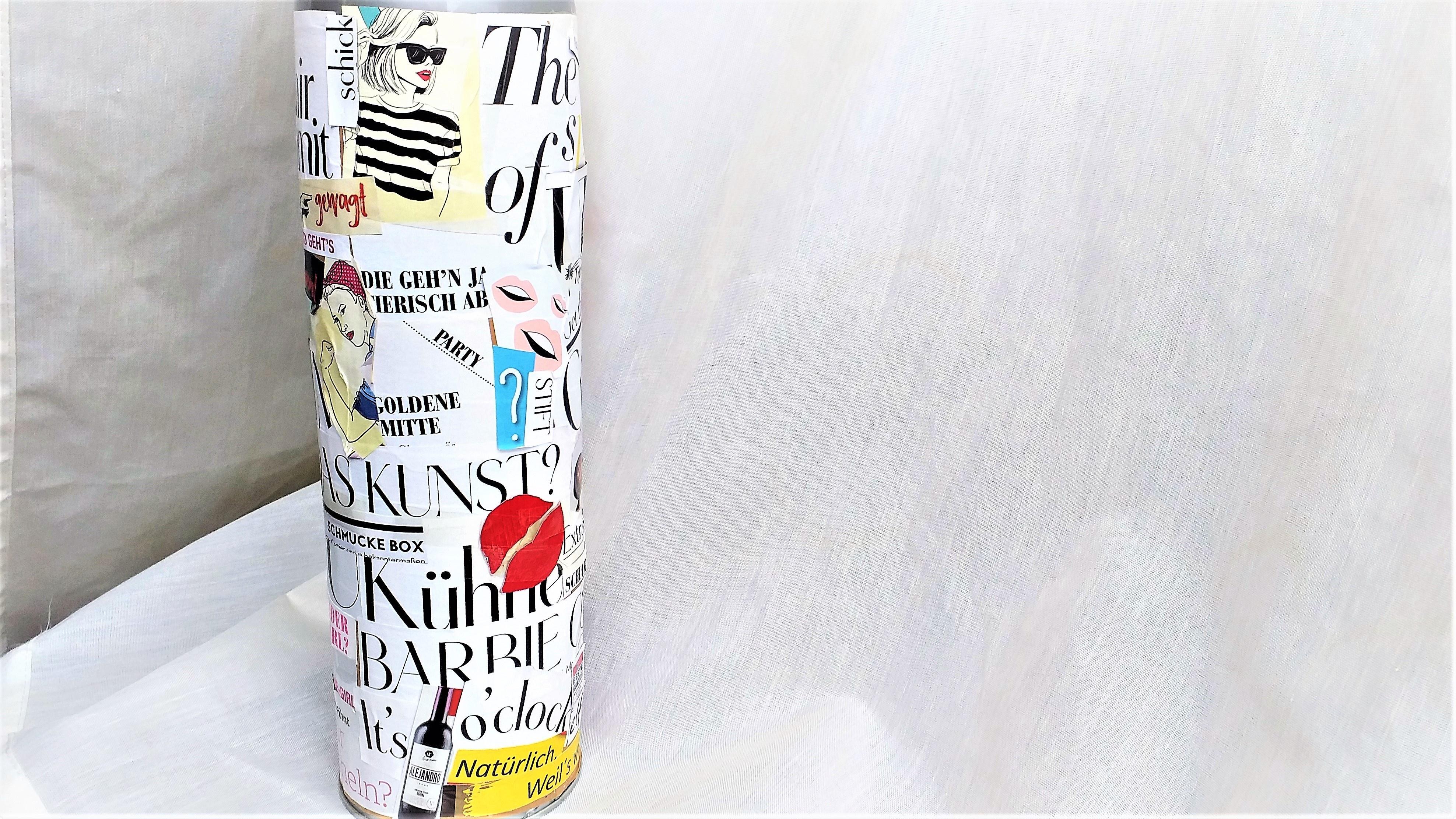 Verpacken Sie eine Flasche in einer selbst gemachten Flaschenbox.