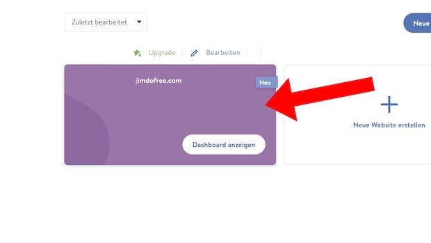 Jimdo-Webmail Login: Projekt auswählen