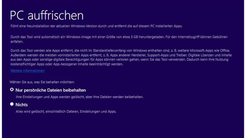 Beim Reset von Windows 10 können Sie Ihre persönlichen Daten behalten.