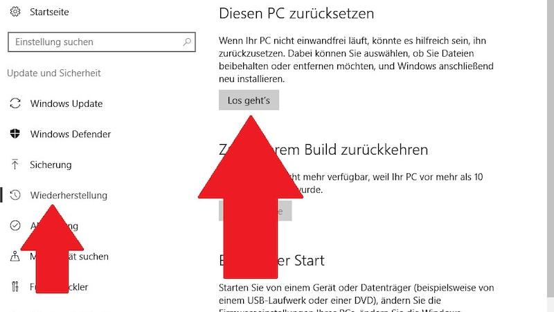 Windows 10 auf Werkseinstellungen zurücksetzen: Die Wiederherstellung starten Sie über die Windows-Einstellungen.