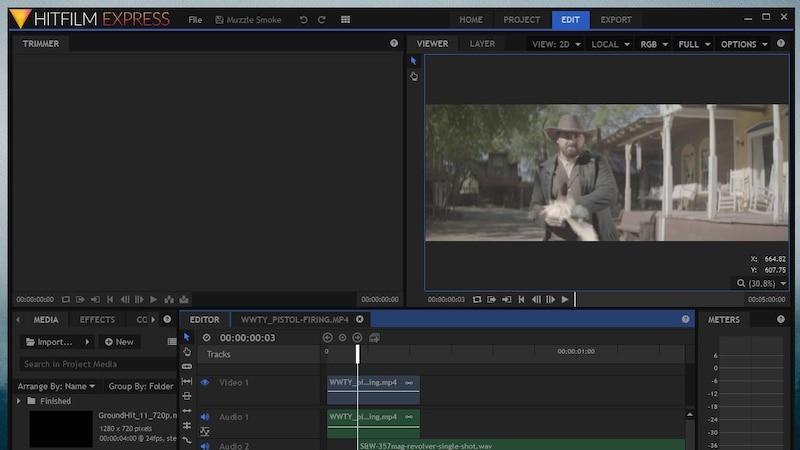 Das kostenlose Videoschnittprogramm HitFilms Express bietet sehr umfangreiches Interface