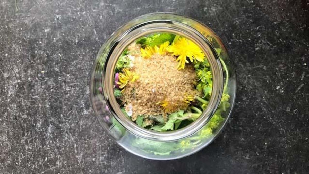 Füllen Sie Kräuter, Gewürze und Zucker in ein Ansatzglas.