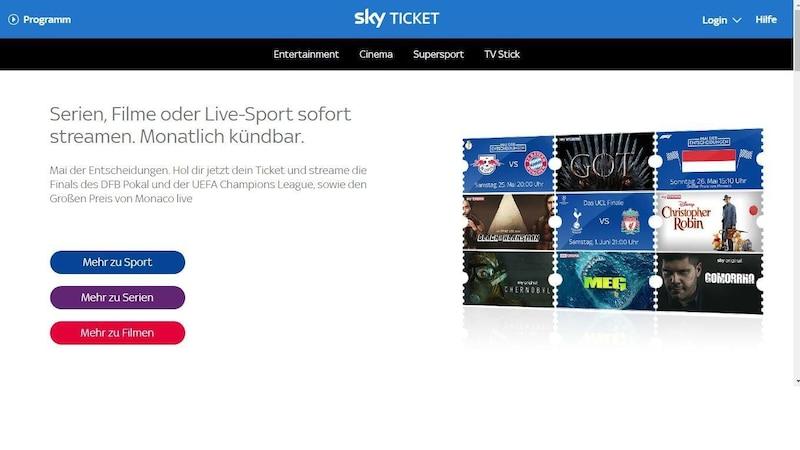 Sky Ticket: Preise für Cinema, Serien oder Sport im Überblick