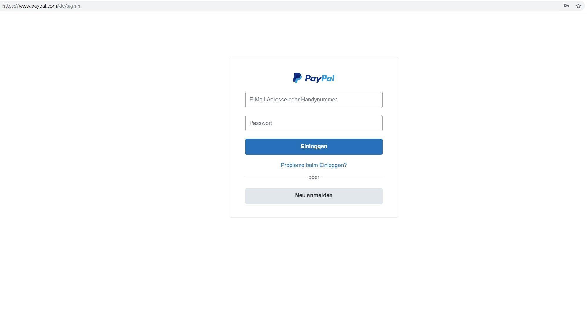 Bei PayPal anmelden