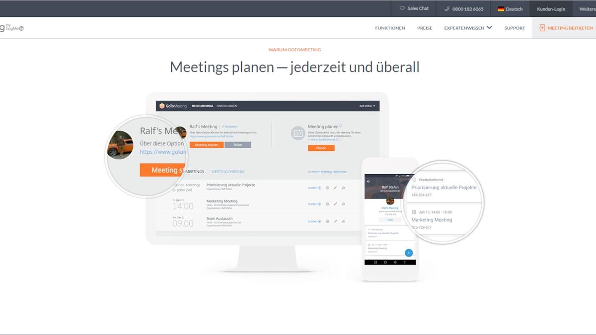 GoToMeeting bietet einen großen Funktionsumfang im Bereich der Videokonferenzen.