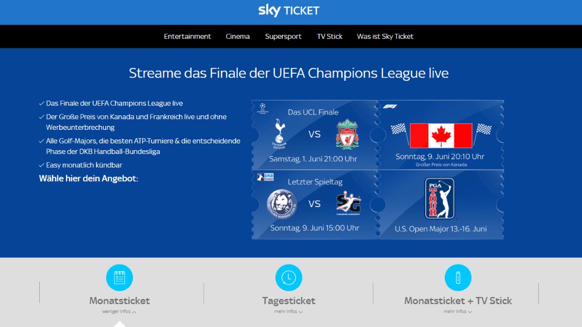 Sky Ticket Supersport: aktuelle Events und den laufenden Spielbetrieb streamen