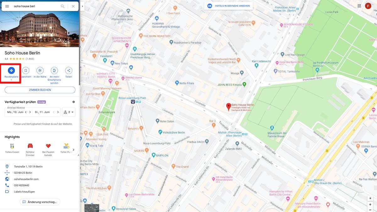 Google Maps Route berechnen