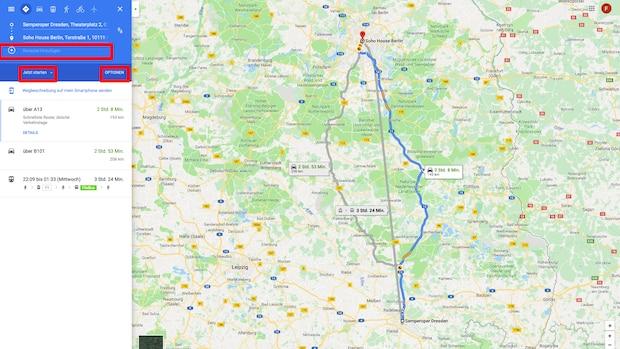 Google Maps Route berechnen: Reiseziel hinzufügen, Abfahrts- & Ankunftszeit festlegen und Routenoptionen