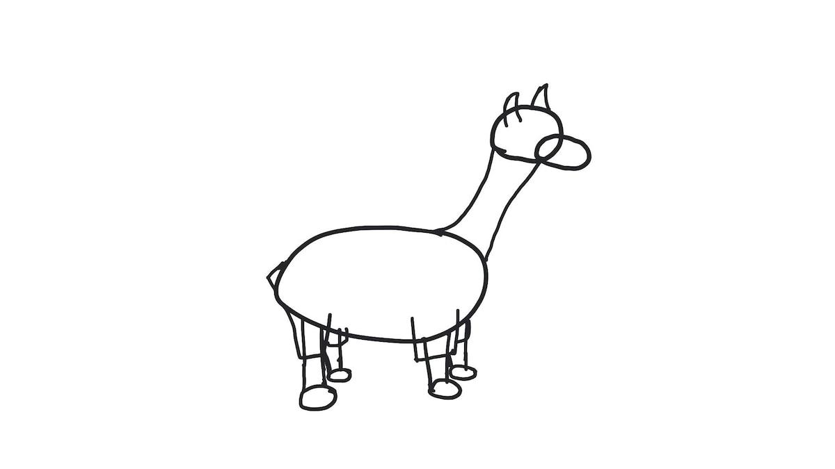 Schritt 4: Nun noch die Hosenbeine und den Schwanz des Lamas skizzieren