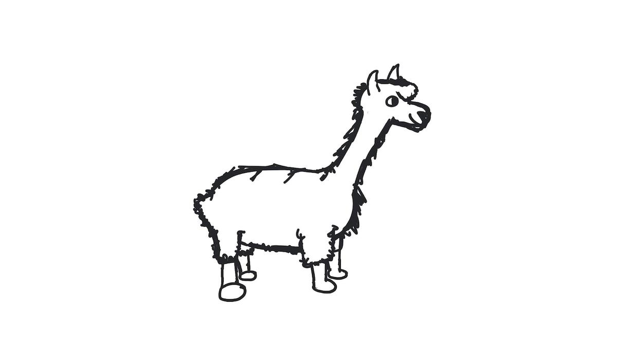Schritt 6: Jetzt bekommt Ihr Lama noch Fell
