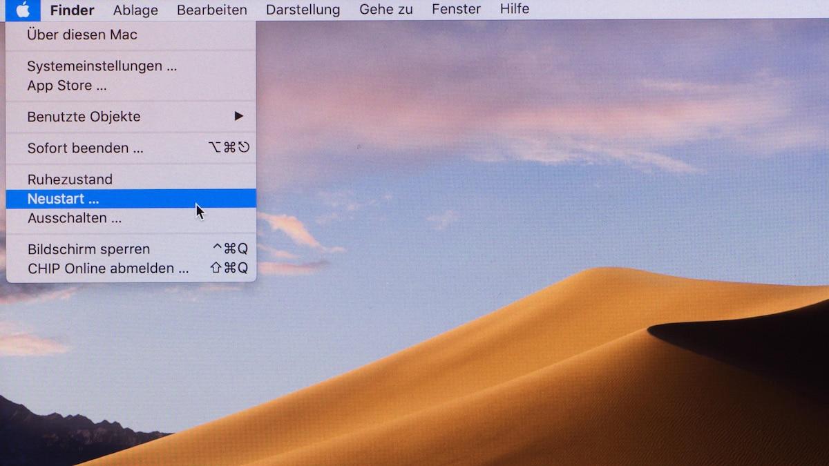 Um den Mac zurückzusetzen, müssen Sie ihn zunächst neu starten