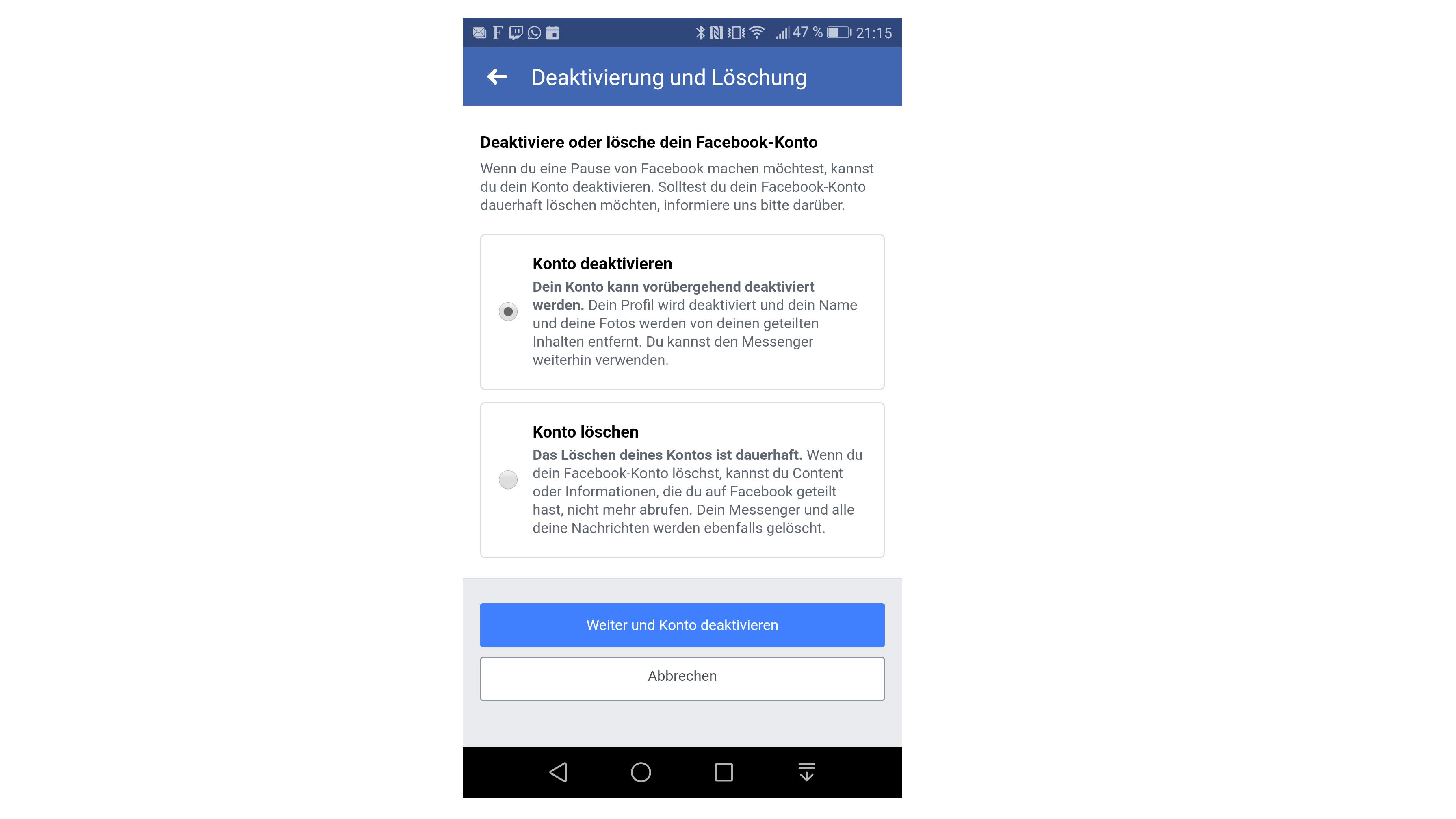 Facebook-App: Konto löschen
