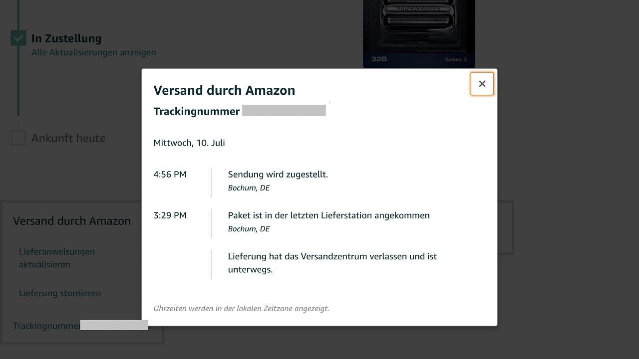 Amazon Logistic: Details zur Sendung
