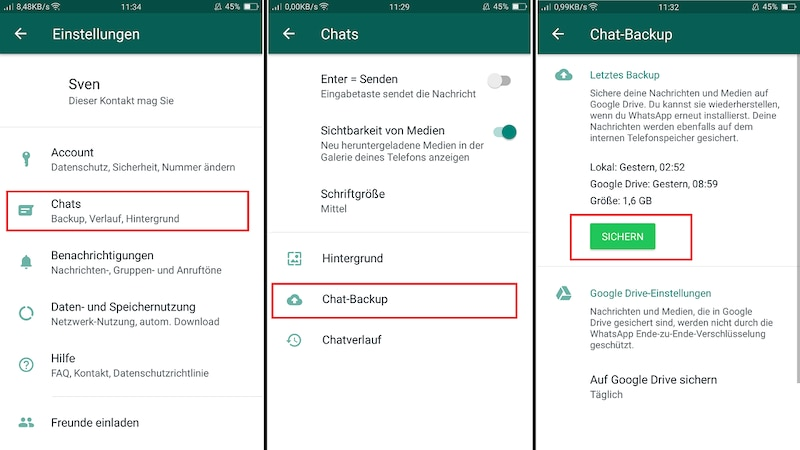 WhatsApp-Backup bei Android mit Google Drive