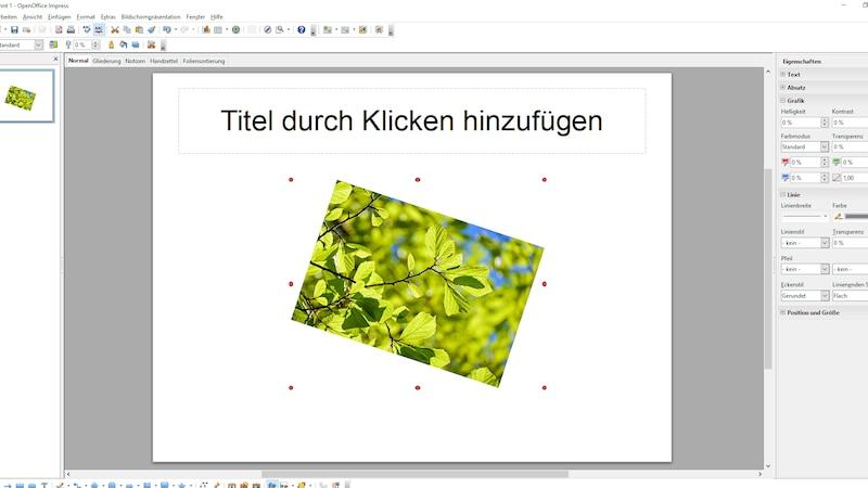 Eingefügtes Bild in OpenOffice Impress drehen