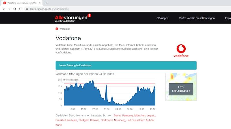 Störung bei Vodafone ermitteln.