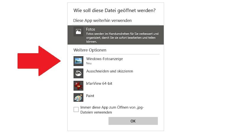 Aktivieren Sie die alte Fotoanzeige für Windows 10.