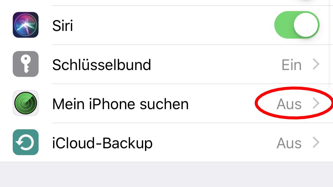 """Um Ihr iPhone mithilfe der iCloud suchen zu können, sollte """"Mein iPhone suchen"""" aktiviert sein."""