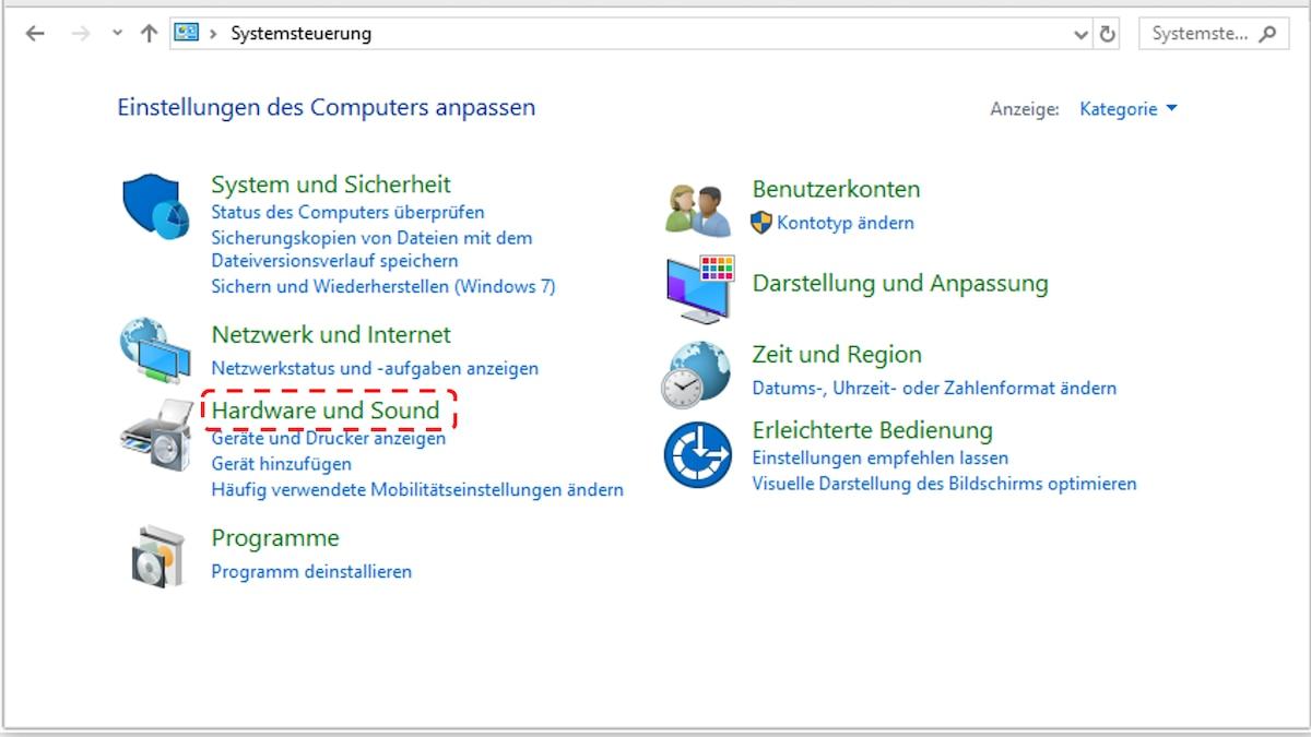 Standby deaktivieren: Öffnen Sie bei Windows 10 die Systemsteuerung und wählen Sie