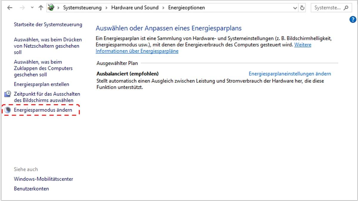 Klicken Sie bei Windows 10 in der linken Spalte auf