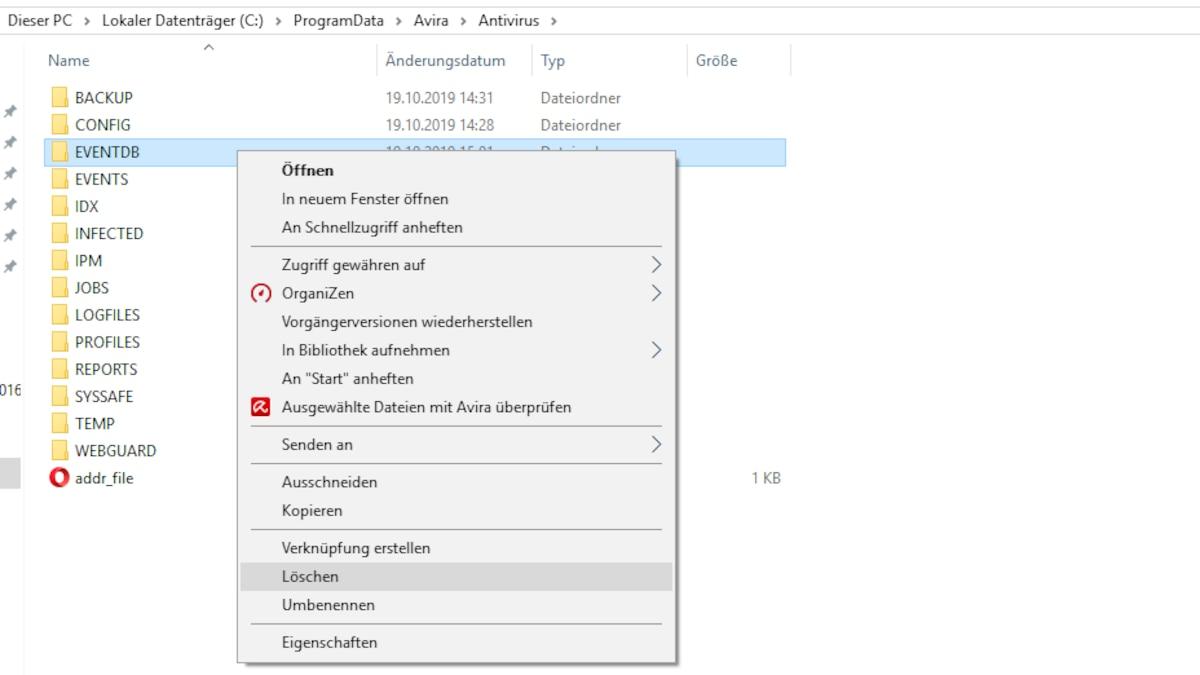 Öffnen Sie den Windows-Explorer und lassen Sie versteckte Dateien anzeigen. Öffnen Sie den Dateipfad