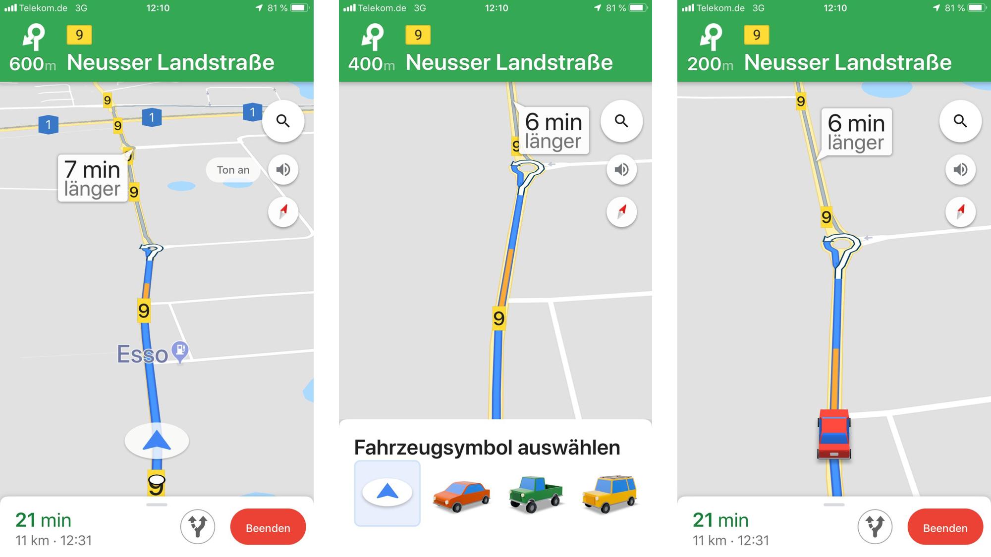 In wenigen Schritten können Sie in Google Maps das Fahrzeug-Icon ändern