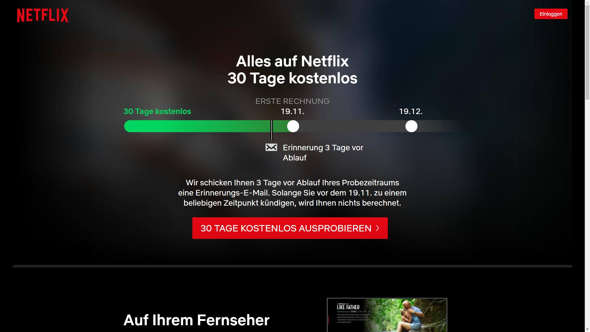 Das Angebot vom Streaming Portal Netflix lässt sich einen Monat lang kostenlos ausprobieren.