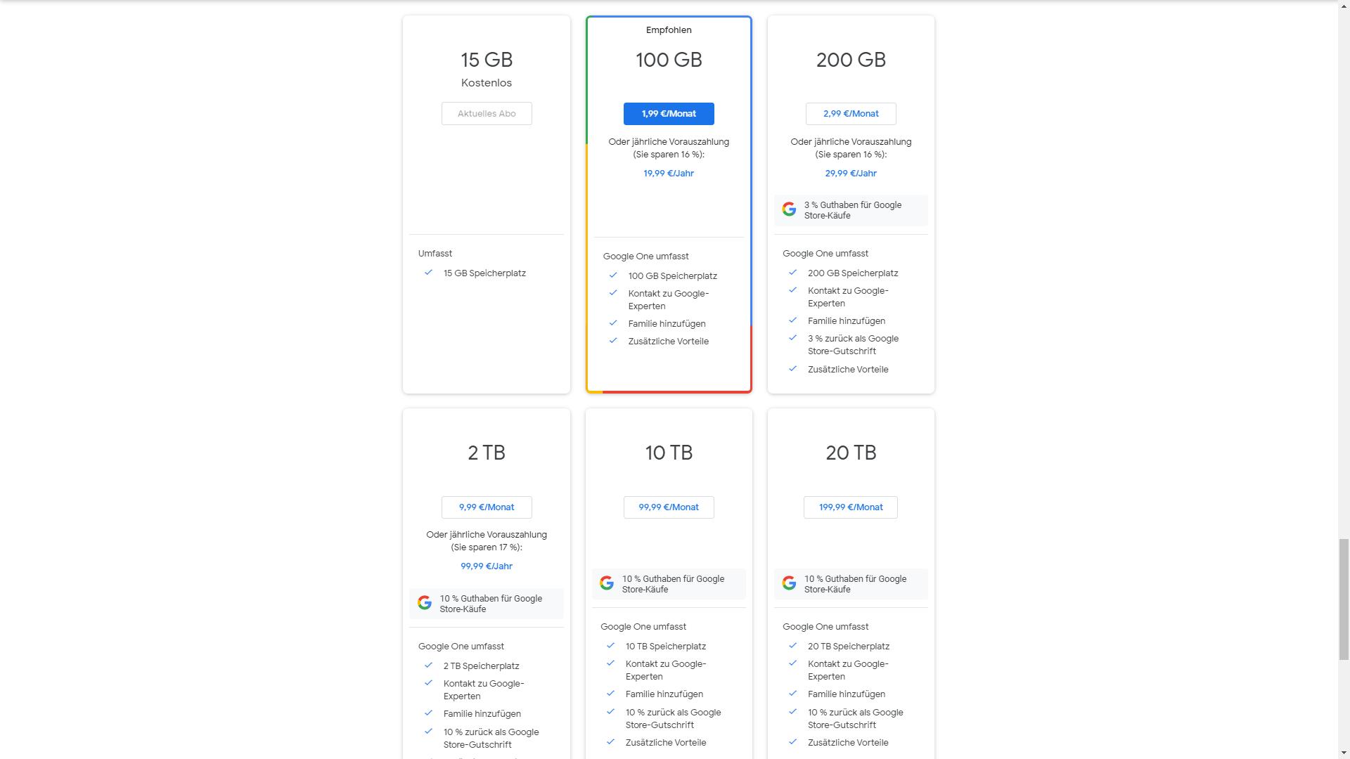 Google One bietet bei gleichen Preisen mehr Vorteile an.