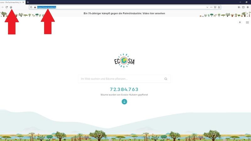 Auch unter Firefox ist das Festlegen von Ecosia als Startseite ein Kinderspiel.