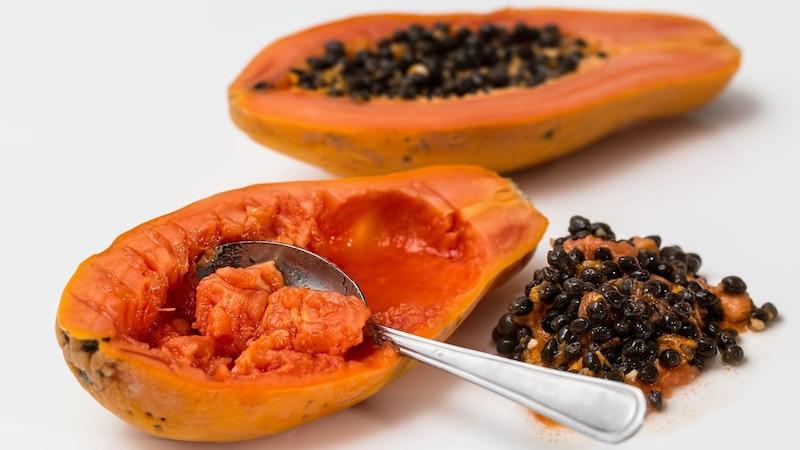 Aus den schwarzen Kernen der Frucht können Sie ganz leicht selbst eine Papaya ziehen.