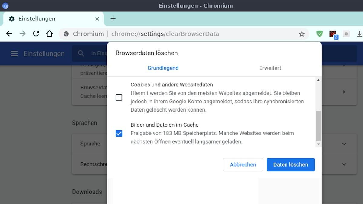 Chrome: Offline-Inhalte löschen