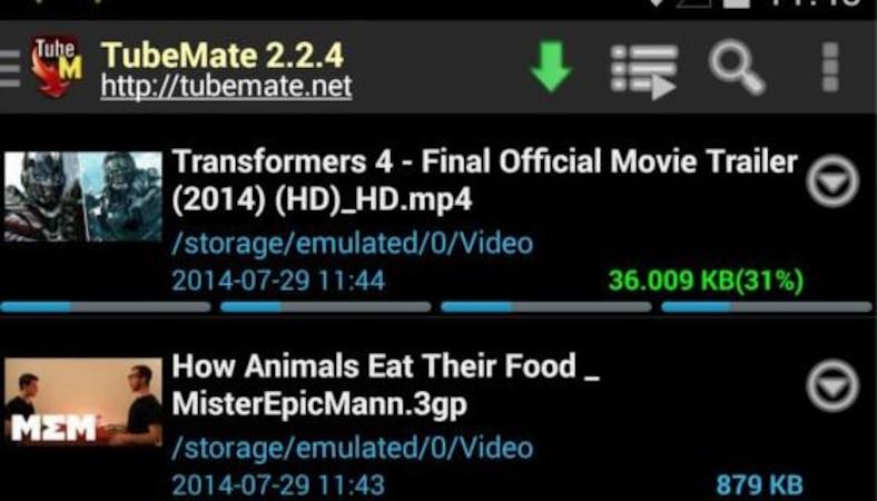 Videos herunterladen mit TubeMate