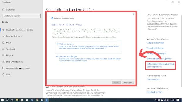 Nutzen Sie zum Übertragen entweder die Option im Seitenmenü der Bluetooth-Einstellungen...