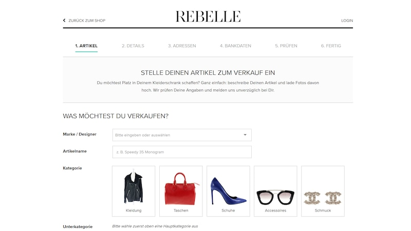 Bei Rebelle können Sie Ihre Designer-Kleidung ganz einfach verkaufen