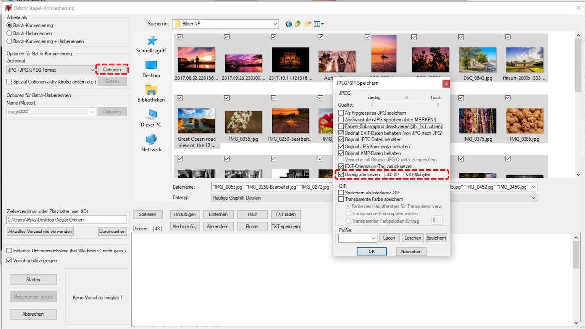 Mit Irfanview die Dateigröße ändern: Schritt 2