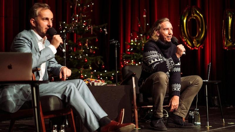 Böhmermann (l.) und Schulz bei der Weihnachtsveranstaltung 2019 in Vegesack