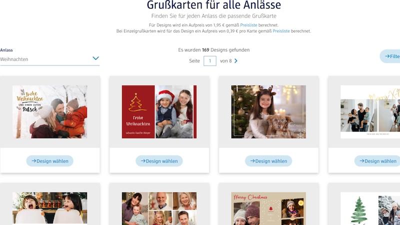 Bei DM können Sie beim Gestalten Ihrer Weihnachtskarten online zwischen verschiedenen Designs wählen.