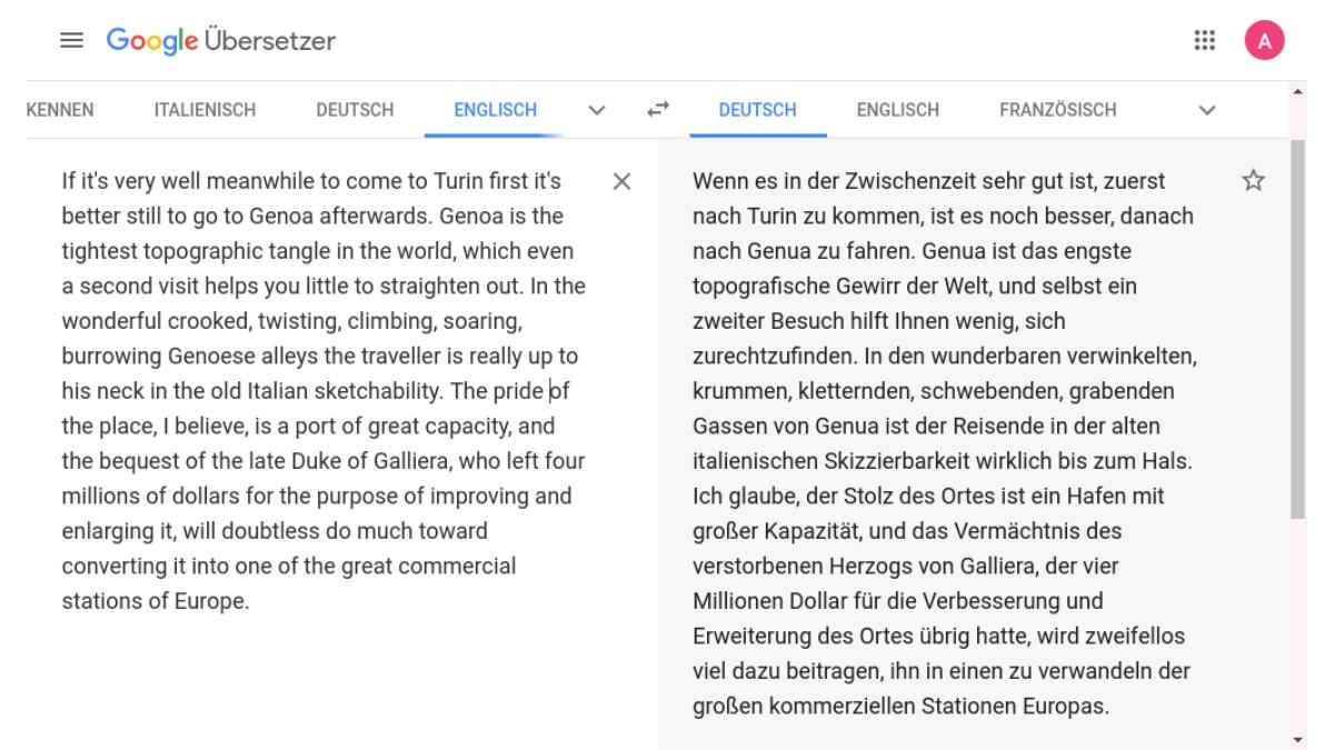 Auch Google übersetzt Texte