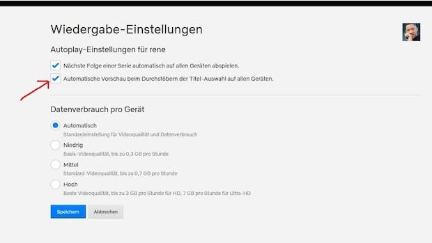 Netflix automatische Vorschau abschalten: Den Haken entfernen.