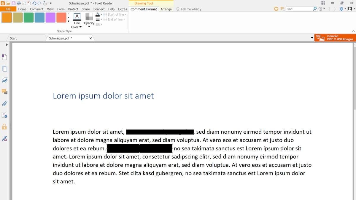 Der mit dem Rechteck überlagerte Text erscheint nun schwarz.
