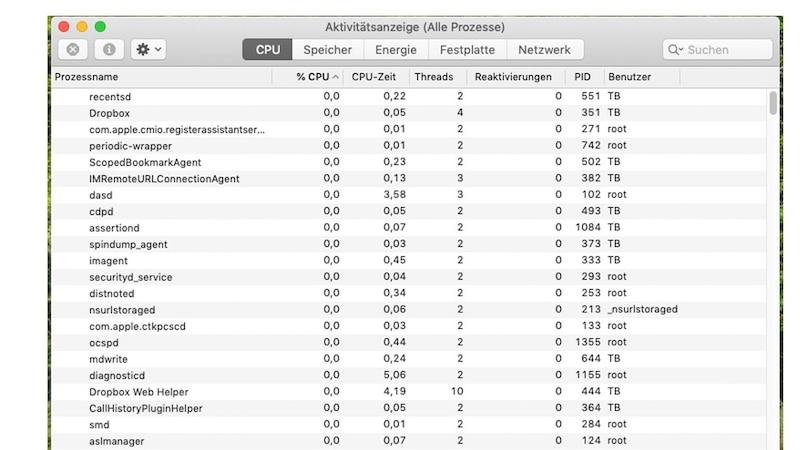 Über die Aktivitätsanzeige erfahren Sie, welche Programme Ihrem Mac Probleme bereiten können, wenn er einfriert.