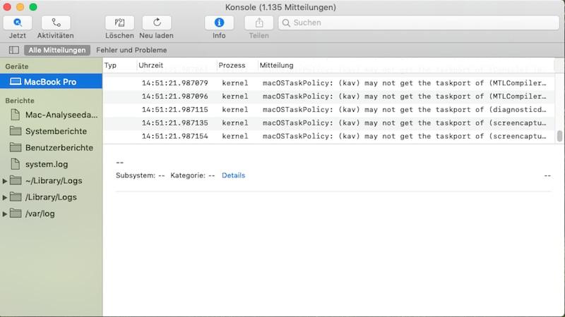 Wenn Ihr Mac OS einfriert, rufen Sie am besten den Crash Report auf. Hier finden Sie möglicherweise eine Lösung.