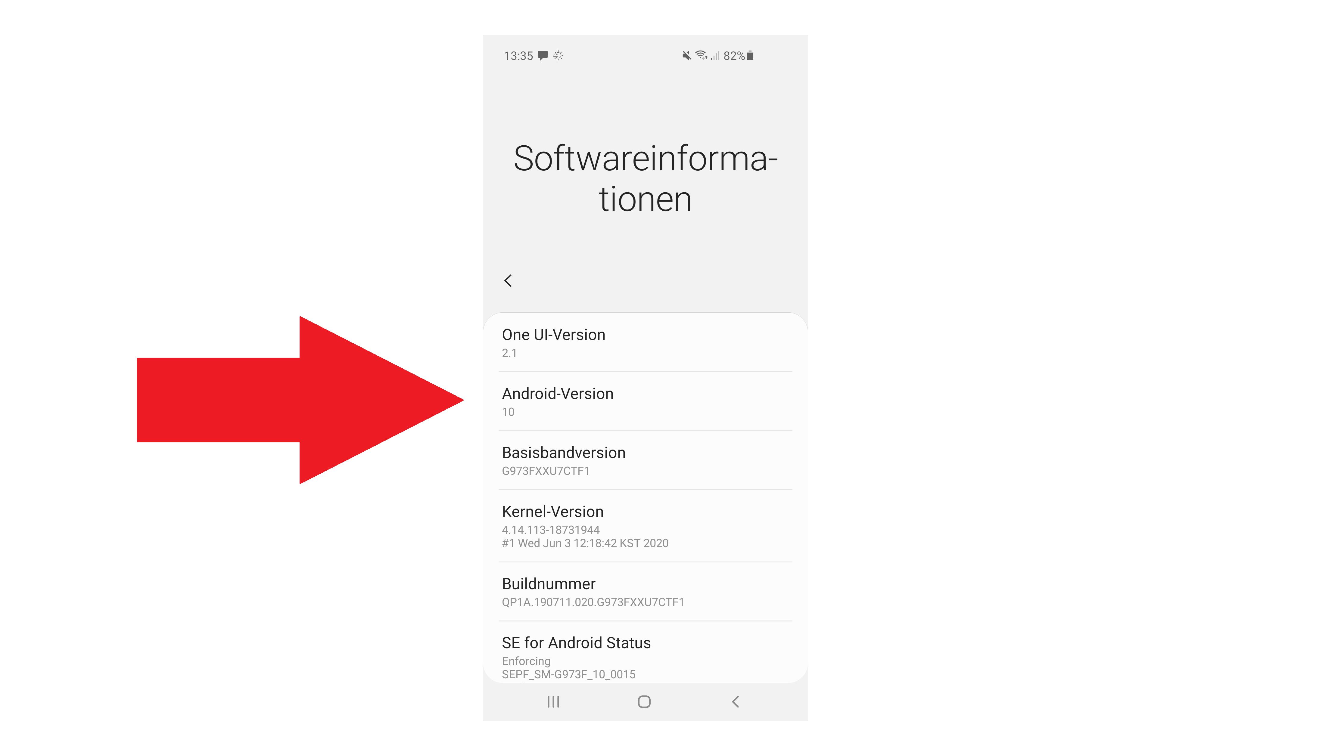 Hier prüfen Sie die aktuell installierte Android-Version.