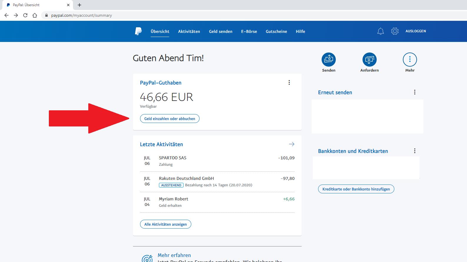 PayPal-Konto aufladen