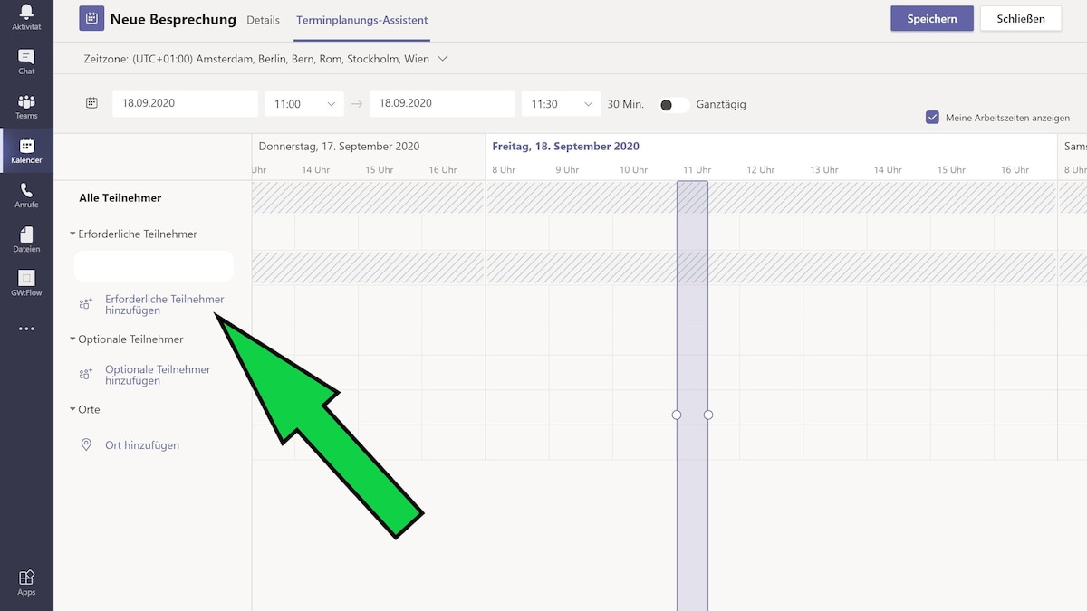 Mit dem Terminplanungs-Assistenten können Sie schauen, ob andere Teilnehmer Zeit haben.