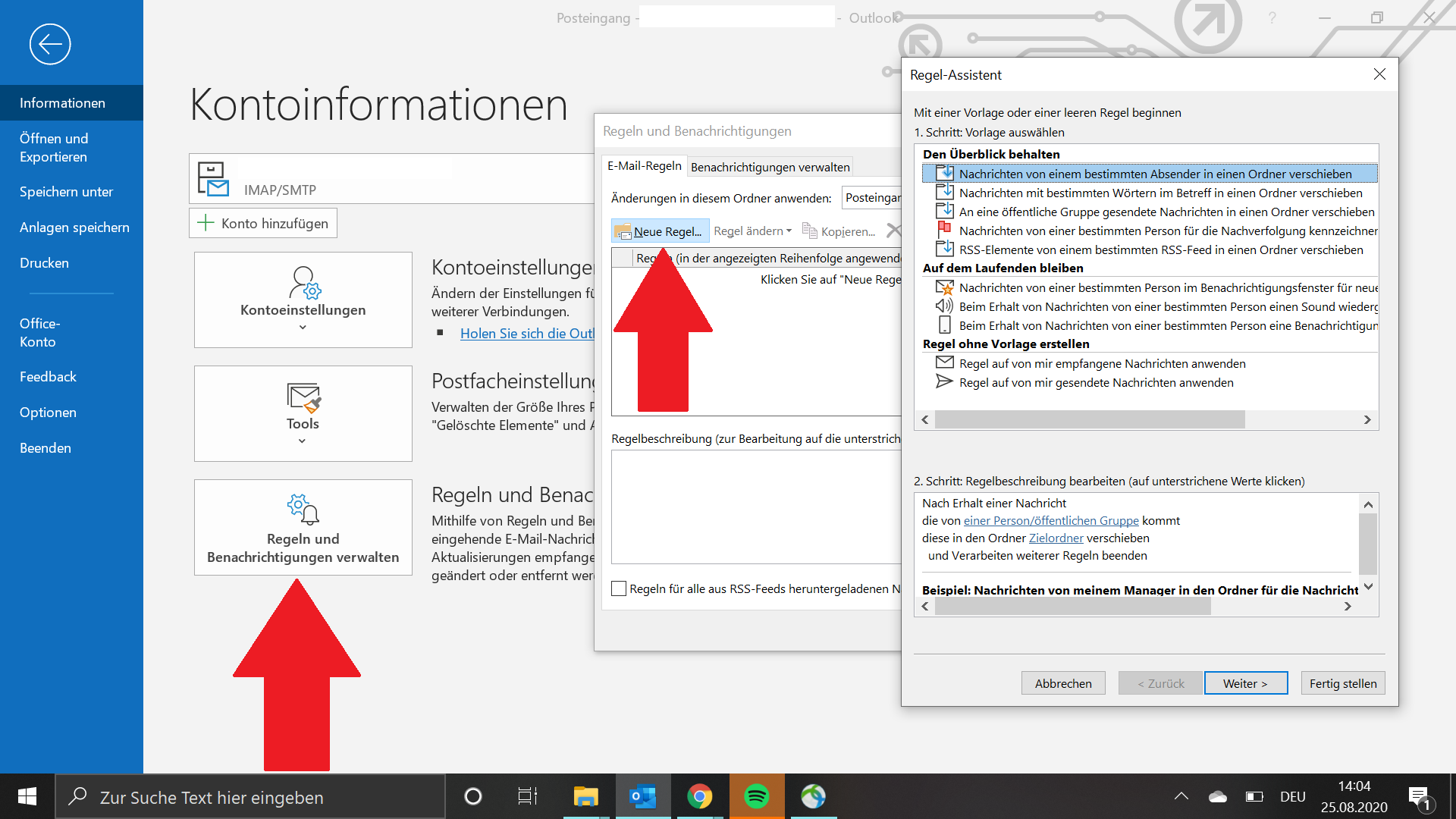 Regel für die Abwesenheitsnotiz in Outlook erstellen