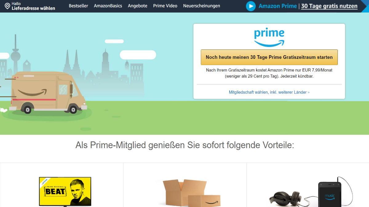So sieht die Anmeldeseite für Amazon-Prime aus.